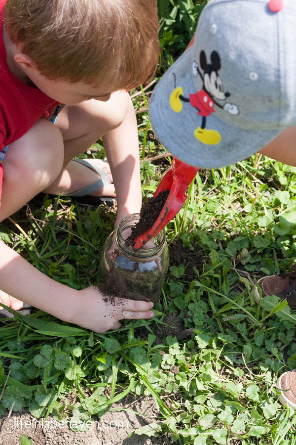 Life in Lape Haven: Roly Poly Pet - Josiah pouring dirt in jar