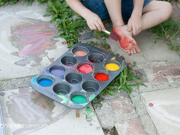 Life in Lape Haven: Tried It Tuesday - Homemade Sidewalk Paint - Painting his foot