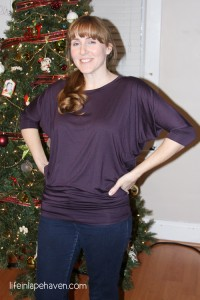 Life in Lape Haven: Tried It Tuesday - Stitch Fix - Purple shirt with dolman sleeves