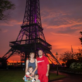 Life in Lape Haven: Tried It Tuesday: Kings Island Blue Ice Cream Copycat Recipe - Family picture by Eiffel Tower at Sunset