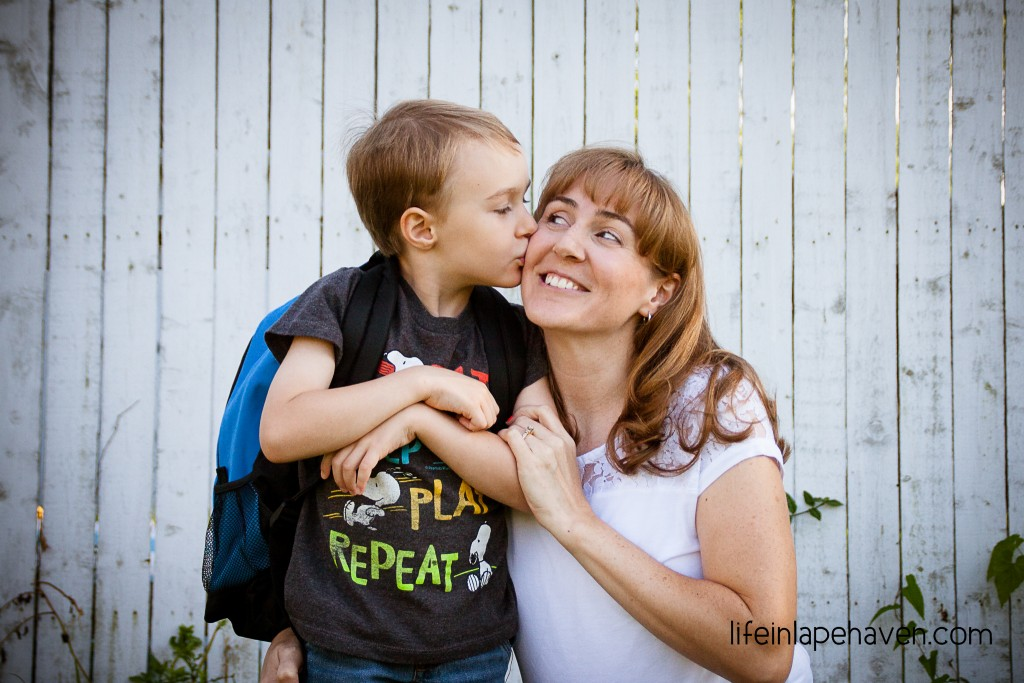 Life in Lape Haven: Embracing the Moments of Mom Sadness - Mommy and Elijah on the First day of Kindergarten
