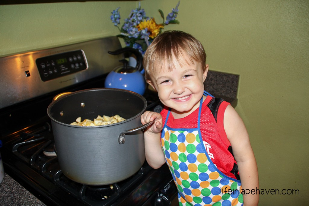 Life in Lape Haven: Giving Him Apple Pieces to Put in the Pan - Making memories in the every day