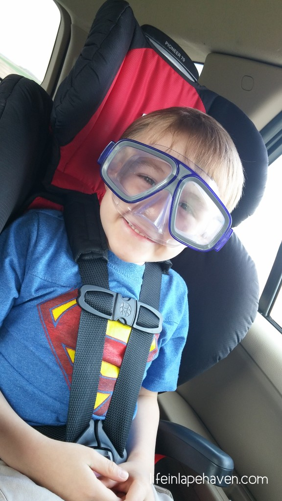 Life in Lape Haven: Write 31 Days - Out of the Mouth of Babes - Elijah and the Snorkel Mask, Elijah wearing a scuba mask, being prepared