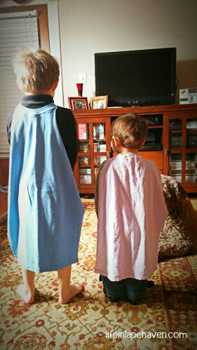 Life In Lape Haven: Write 31 Days - My Boys and the T-Shirts. Easy homemade super hero capes from old t-shirts