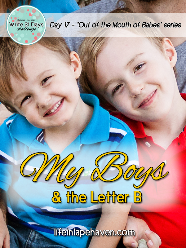 Life in Lape Haven: Write 31 Days - My Boys and the Letter B. Three amusing quotes from my boys that came from misunderstandings or miscommunication.