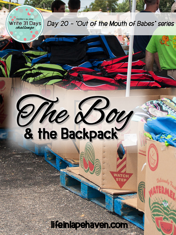 Life in Lape Haven: Write 31 Days - The Boy and the Backpack. It was a beautiful shot, but a more beautiful moment to capture the joy of true thankfulness.