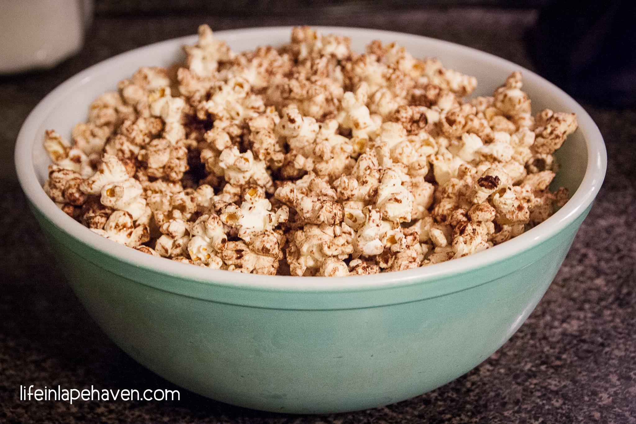 Life in Lape Haven: Cinnamon Sugar Kettle Corn recipe. A quick, tasty, and fairly healthy stovetop popcorn recipe using coconut oil.