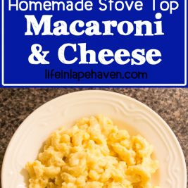Life in Lape Haven: Tried It Tuesday: Homemade Stove Top Macaroni & Cheese. This quick, easy, delicious homemade mac and cheese on your stove top is a crowd pleaser and a family favorite. Even the pickiest of picky eaters will love it! It takes about the same amount of time to make as the boxed kind, but it tastes so much better!