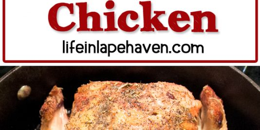 Life in Lape Haven: Tried It Tuesday: Oven Roasted Chicken. Delicious, juicy chicken is easy to make when you roast it in the oven. Seasoned simply with rosemary , thyme, salt, & pepper, cooking the chicken at a high temperature creates a crispy skin and juicy, flavorful chicken. Yum!