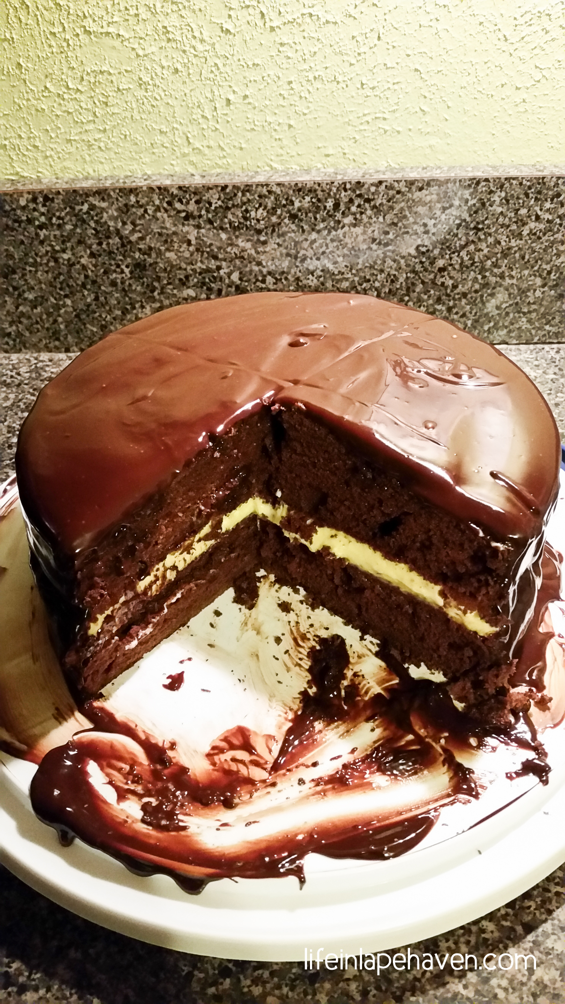 Chocolate Cake with Bavarian Cream Filling & Chocolate Ganache