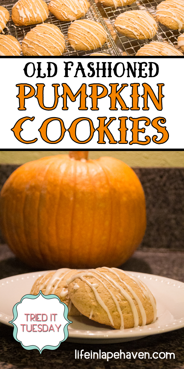 Life in Lape Haven: Tried It Tuesday: Old Fashioned Pumpkin Cookies. This fall must-bake is a simple recipe for yummy, super soft pumpkin cookies drizzled with glaze. One of our family's autumn baked goods favorites.