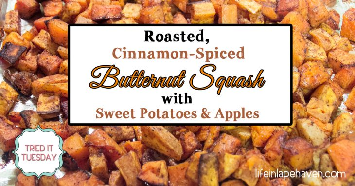Roasted Cinnamon-Spiced Butternut Squash with Sweet Potatoes & Apples. This delicious roasted butternut squash side dish spiced with cinnamon and sweetened with sweet potatoes and apples is a great healthy addition to any meal or holiday table throughout the fall and winter.