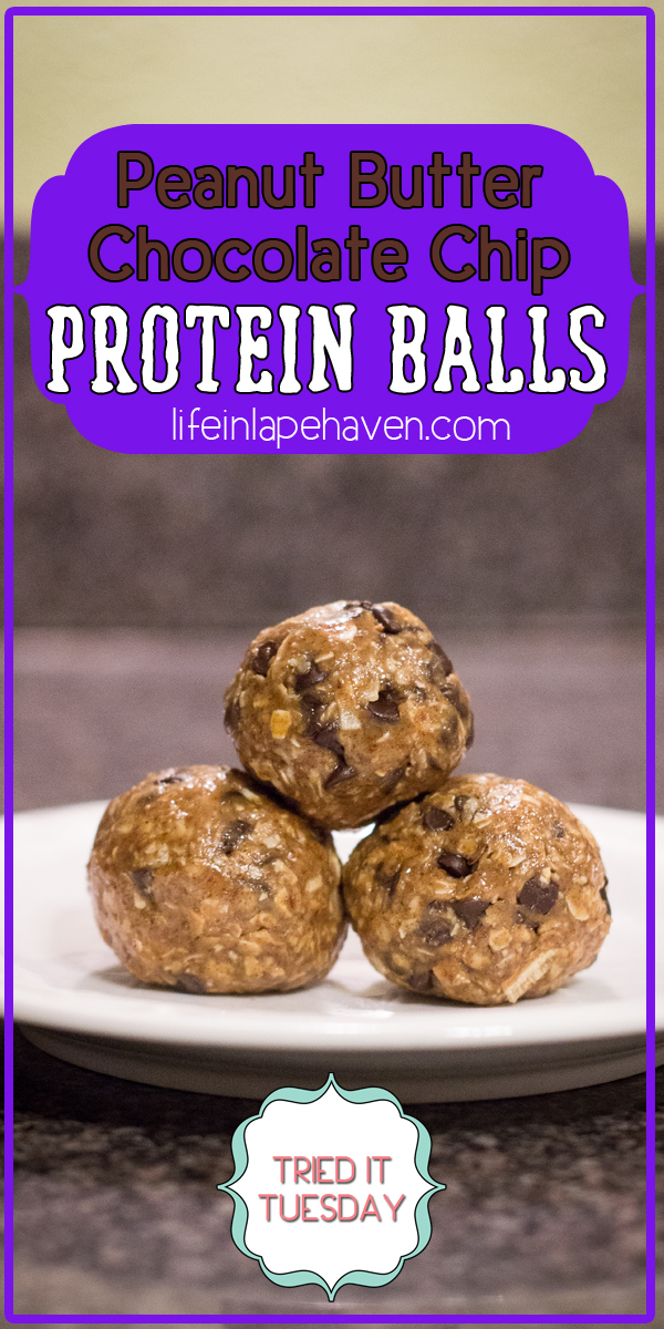 Life in Lape Haven: Tried It Tuesday - Peanut Butter Chocolate Chip Protein Balls. A simple recipe for healthy energy bites. Great for the whole family.