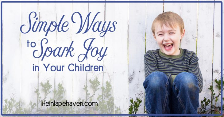 Life in Lape Haven: Simple Ways to Spark Joy in Your Children. It doesn't take much to bring joy to our children's lives. Here are some ideas on simple ways to add some fun to your every day with your kids.