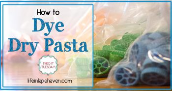 Life in Lape Haven: Tried It Tuesday - How to Dye Dry Pasta. Colored pasta noodles are great for kids' crafts, art projects, and sensory bins. Here is how I dyed dry pasta using food coloring for our vacation Bible school Maker Fun Factory and the tips I learned through the experience.