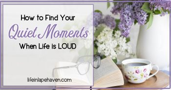 How to Find Your Quiet Moments When Life Is LOUD - Life in Lape Haven. As moms, we all have days when the demands are constant, the noise is incessant, and all we need is a quiet moment to focus. Where are they hidden throughout your day?