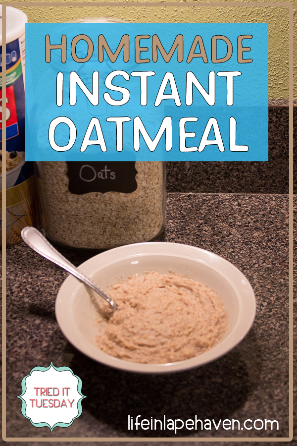 Tried It Tuesday: Homemade Instant Oatmeal. Make your mornings easier with this easy, inexpensive DIY recipe that gives you all the convenience of instant oat packets with the flavor and nutrition of homemade oatmeal. You and your kids will love this recipe for homemade instant oatmeal!