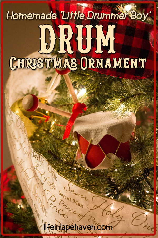 Homemade Little Drummer Boy Drum Christmas Ornament - Life in Lape Haven. These adorable little drum Christmas ornaments are an easy, affordable craft for you and your kids to make for your Christmas tree or as a holiday decoration.